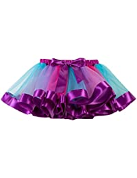 2e06ed1f7d156 Solike Jupes Tulle Femme Rainbow Multicolore Organza Élastique Mini Robe  Transparent Jupes Filles Jupe Ballet Tutu