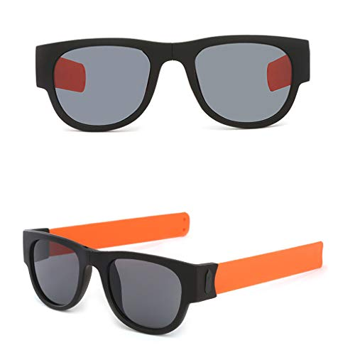 EUCoo Sunglasses Riding Glasses Bracelet Papa Glasses Legs Wrist Folding Sunglasses Radfahren Brille (Orange)