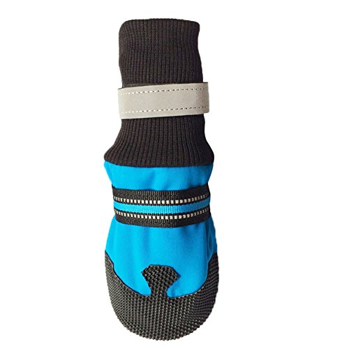 Ukallaite Essential für Tauchen 4PCS Winter Herbst Pet Socken Schuhe Weiche Neopren Anti-Rutsch Schutzstiefel für Hunde–Rose Rot XL L blau