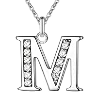 MSYOU Personality Necklace Simple Rhinestone 26 Letter Pendant Style Elegant Alloy Clavicle Chain Accessories Temperament Lady Teen Girl Gift