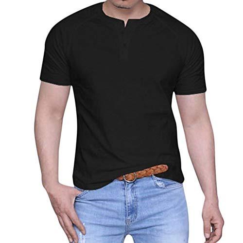 Minetom Herren T-Shirt Lose Kurzarm Tees Tops Beiläufig Einfarbig Taste Slim Fit Bluse Sommer Rundhals Basic Hemd Schwarz XS