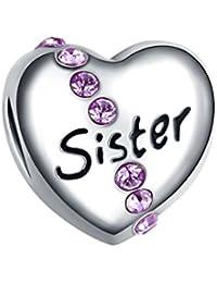 Bling étoiles Sister Charm perle Cœur avec cristal Swarovski Elements Rose Pandora Charms Bracelet