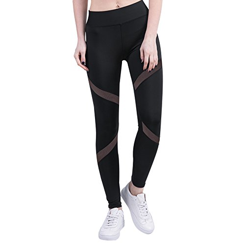 Frauen Mesh Yoga Hosen Workout Sport Leggins Schwarz Laufhose XL (Activewear Stricken)