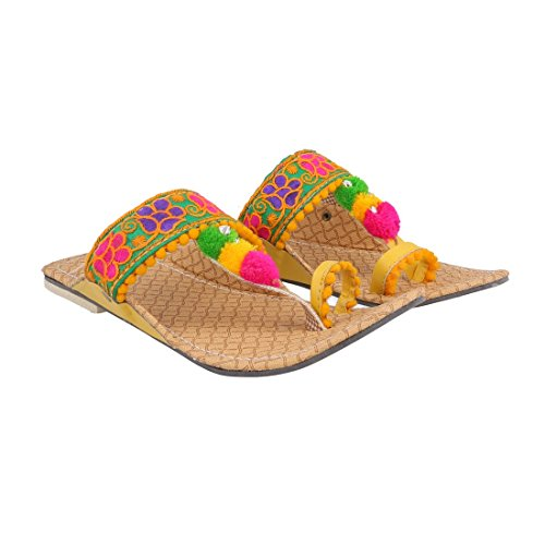 Kalakar India Women Girl's Party Office Ethnic Yellow Kolhapuri Chappal Sandals  available at amazon for Rs.313