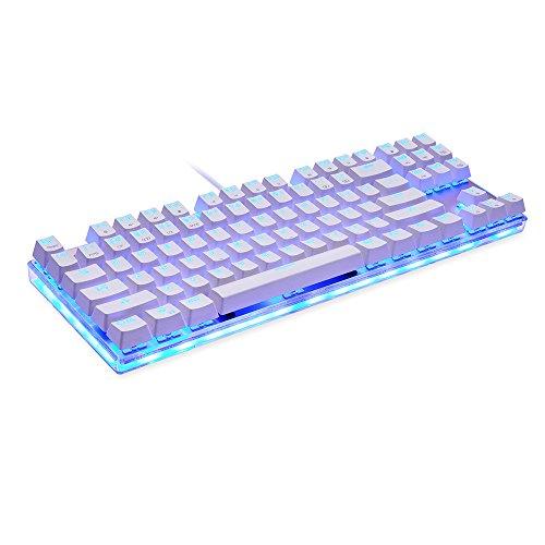Ildlor mechanische Gaming-Tastatur, USB verkabelt, ergonomisch, RGB LED, Hintergrundbeleuchtung, bunt beleuchtet für PC und Laptop weiß