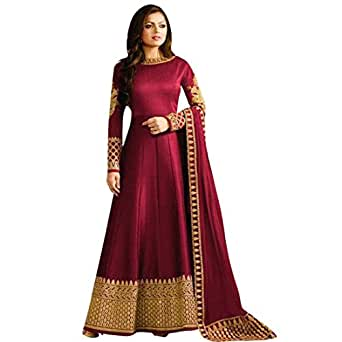 Styles Closet Maroon Mulberry Silk Embroidered Anarkali Suit(6263)