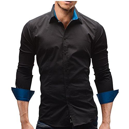 Merish Herren Hemd Langarmhemd Kontrast Kragen Manschette Farbig 9 Modelle 110 Schwarz