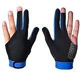 Billar Pool Cue Glove Abrir derecho Mano izquierda Mano tres, 1 par Varios guantes (Color : Blue, Size : M)