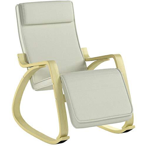 SoBuy Silla de relax, mecedora (reposapiernas ajustable), sillón de relax FST16-W (beige)...