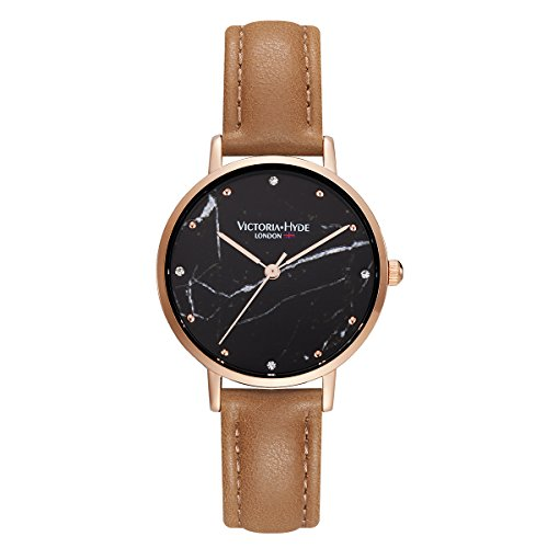 victoria hyde ladies watch marble black dial quartz analog display replaceable leather strap brown for women