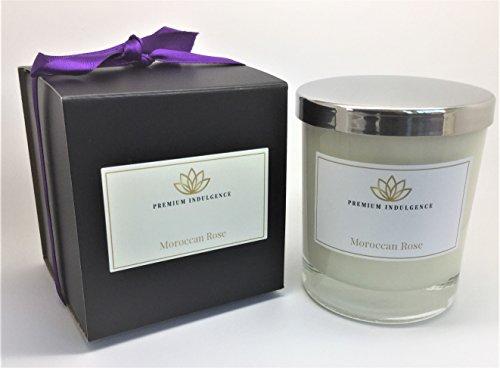 Marokkanische Rose 100% pflanzliches Wachs Bio Natural Duftkerze in Glas Votiv. In Geschenkverpackung, 1 x 20cl with Lid -