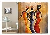 Amody 3D-Digitaldruck 3 Beautiful Women Duschvorhang Badezimmer Vorhang Dauerhaft Wasserdichter Badvorhang Bunt Größe 150X200Cm