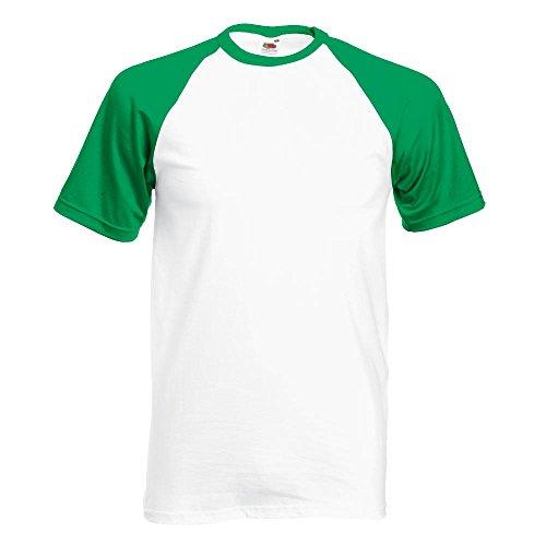 Fruit of the Loom - Kontrast T-Shirt 'Baseball T' White/Kelly Green