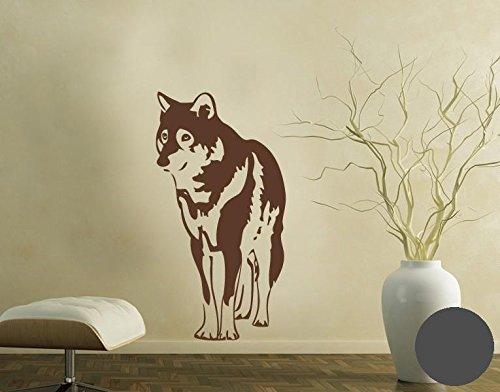 Klebefieber Wandtattoo Wolf B x H: 62cm x 120cm Farbe: Dunkelgrau