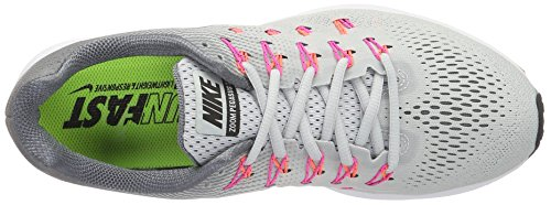 Nike Damen Air Zoom Pegasus 33 Laufschuhe Grau (Pure Platinum/Black-Cool Grey-Pink Blast)