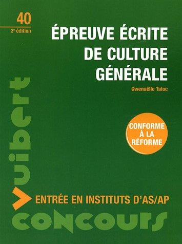 Epreuve écrite de culture générale : Entrée en instituts d'AS/AP