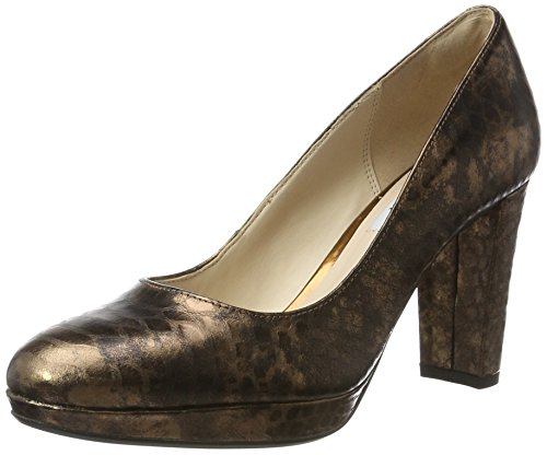 Clarks Damen Kendra Sienna Pumps, Braun (Bronze Snake), 39.5 EU