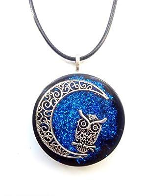 collier pendentif Wicca, croissant de lune, hibou, Nouvel Age, Reiki