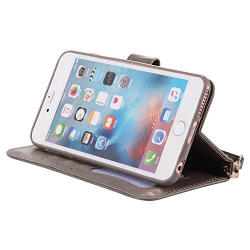 Custodia portafoglio iPhone 6 Plus 6S Plus, Feeltech Premio Cover in Pelle PU Soft Luminoso Snap On Annata Flip Shell Cover Ragazza Fiore Farfalla Modello Con il Supporto della Scheda Dual Layer Assor Grigio