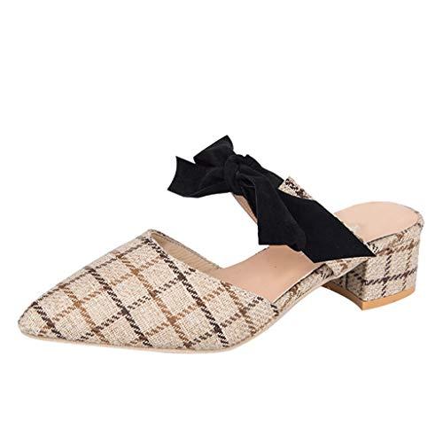 chaussures femme, Manadlian Escarpins avec des Pantoufles à Carreaux Sandales à Demi-Pantoufles Chaussons Sandales de Plates