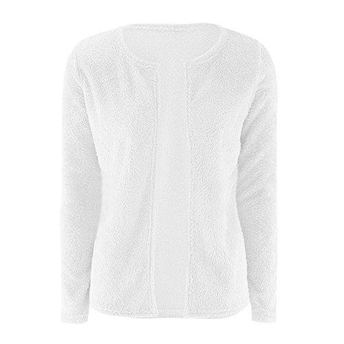 Giacche a Donna Autunno Sweater Maglieria Cappotti Manica Lunga Di Colore Solido Cardigan Maglione Felpa Bianca