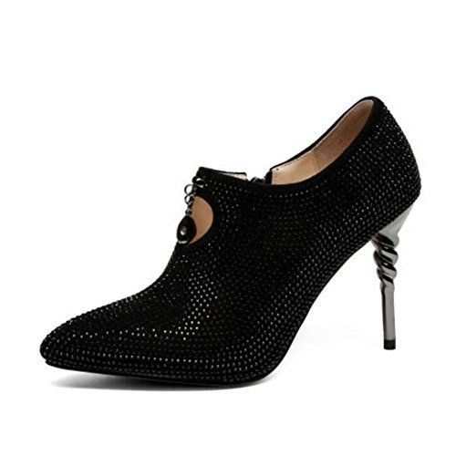 e Spitze Schuhe hohlen Strass High Heels weiblichen Stiletto tiefen Mund einzelne Schuhe seitlichen Reißverschluss Frauen Schuhe 34-39 Yards Frauen High Heels ()