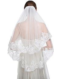 Edith qi 2 Couche Argent doublé en dentelle brodée Bridal Veil Fingertip Longueur avec peigne