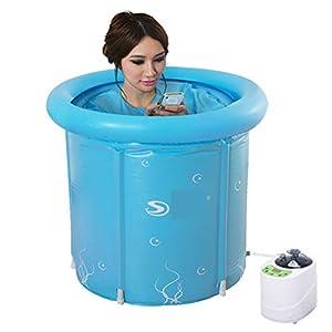 Faltbare Wanne, Faltender Haussauna-Raum-Bad-Fass-Erwachsen-Wanne aufblasbares Bad Ganzkörper-Begasung (blau)