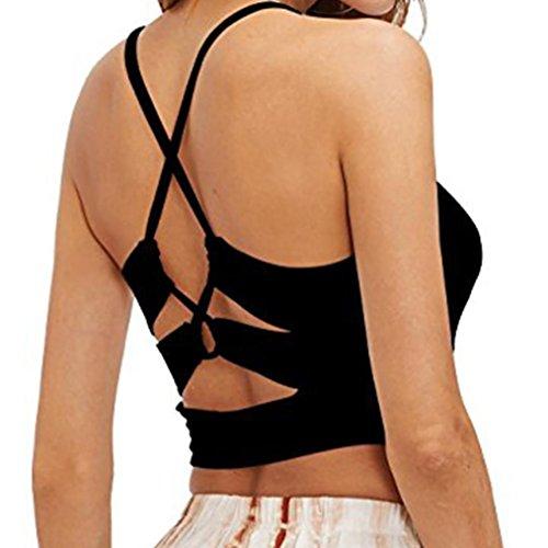 Tanktops Damen Dasongff Damen Bandage BH Tank Tops Reizvolles Yoga Oberteile Sport Tops Fitness Workout Top Mode Leibchen Ärmelloses Weste T-Shirt Bluse (L, Schwarz-F) (Bh-top Gepolsterte)