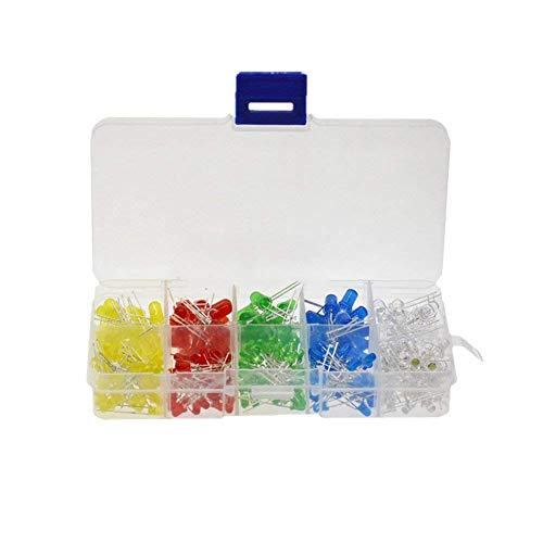 300pcs 3mm 5mm LED Lumiššre Blanc Jaune Rouge Vert Bleu assorties LED Kit de bricolage