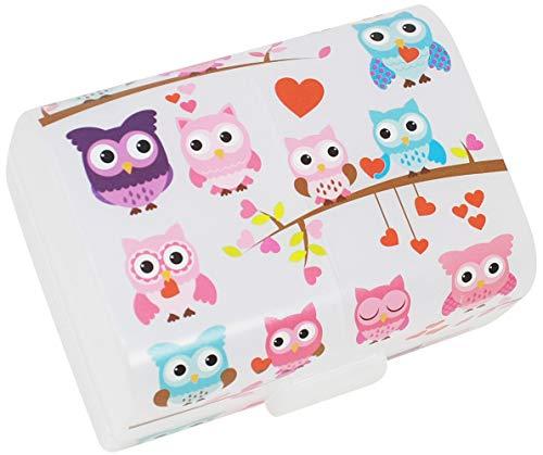 """com-four® Brotdose\""""Eulen\"""" für unterwegs - Lunchbox mit 3 Fächern - Frühstücksbox 17 x 13 x 10 cm (01 Stück -\""""Eulen\"""")"""