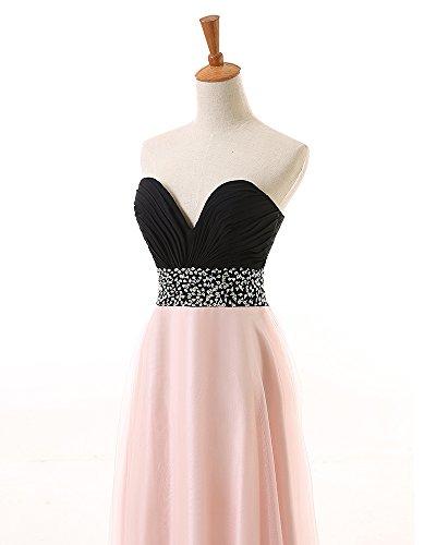 KekeHouse® Herzausschnitt A-Linie Maxi Tüll Brautjungkleid mit Pailletten Verzierung Abendkleid Ballkleid Partykleid Grün