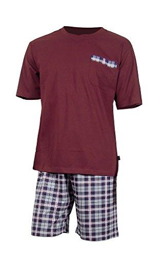 e.VIP® Herren Schlafanzug CHRIS S 325A, Kurzarm, kurze Hose, reine Baumwolle, in Farben: Weinrot kariert oder Grau/Weinrot kariert, verschiedene Größen Weinrot