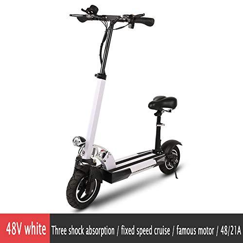 YIWANGO Elektro Scooter Höhenverstellbarer Lenker Höchstgeschwindigkeit 45 Km/H Elektroroller Erwachsene Zuladung Bis 150kg Klappbarer City-Roller,White6