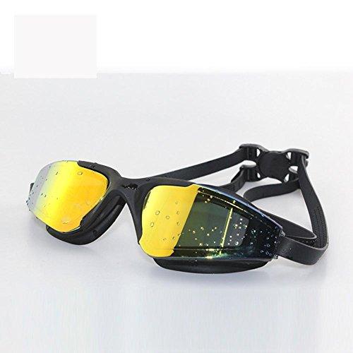 Adult Swim Placcatura / Piece Corsa Di Nuoto Occhiali Di Grande Scatola / Hd Occhiali Anti-Nebbia , Black,Nero