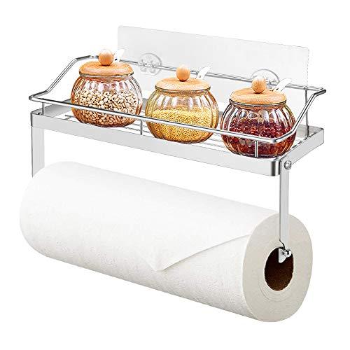 hochwertiger Papierrollenhalter mit integriertem Gew/ürzregal aus Metall mDesign K/üchenrollenhalter mattsilberfarben praktischer K/üchenhelfer