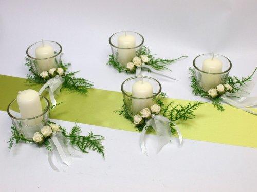 5X Kerze 5X Votivglas Kerzenring Weiß Rosen Deko Kommunion Konfirmation Taufe Tischdeko
