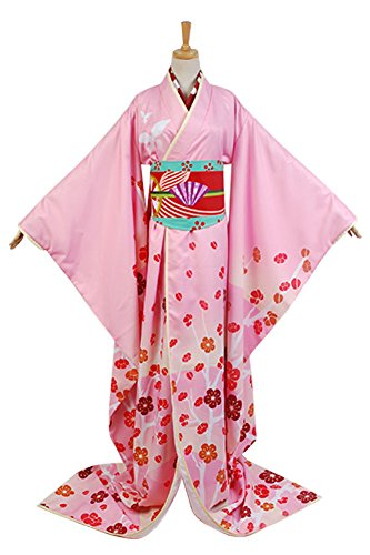Puella Magi Madoka Magica Tomoe Mami Maiko Kimono Cosplay Kostüm Damen Rot (Cosplay Madoka Kostüm)