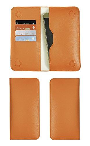 Emartbuy Aurora Orange Textured PU Leder Magnetisch Schlank Brieftasche Tasche sleeve Halter ( Size LM2 ) Geeignet Für Smartphones Aufgeführt Unten (Unten Tasche)