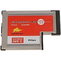 Sharplace 2Puerto Doble USB3.0 ExpressCard Adaptador Compatible con Ranura Express estándar de 54 mm Herramientas