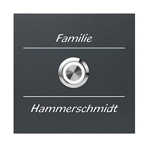 Qualitäts-Klingel-Platte inkl. Gravur MOCAVI Ring 5 Klingelschild aus V4A-Edelstahl, anthrazit lackiert (ral 7016), quadratisch (8,5 cm), LED-Klingel-Taster (weiß), Laser-Gravur