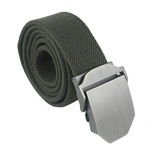 Forepin® Uomo Cintura in Tessuto Stile Casuale Cintura Canvas Slider Fibbia Regolabile Web Cintura Della Vita di Modo Web Belt - Cintura Lunghezza 125 cm (Army