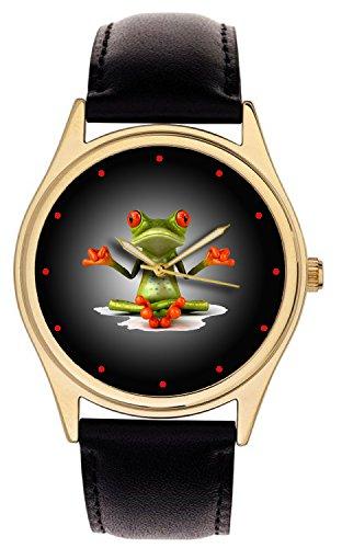 Skurril Frosch Yoga Art Cool Collectible 40mm groß Größe Unisex Armbanduhr. Handgefertigt. -