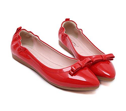 Sandálias Dança Verão Senhoras Arco Chinelos Vermelha De Bonito Liso Omelete Couro Deslizamento Em vxpwqaR