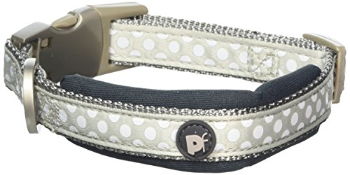 Petface Signature Padded Dog Collar, Small, Grey Dots