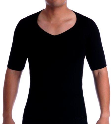 SODACODA Cotton Compression V Neck Undershirt Shapewear T-Shirt, Mens Shapewear Short Sleeve (L, Black)