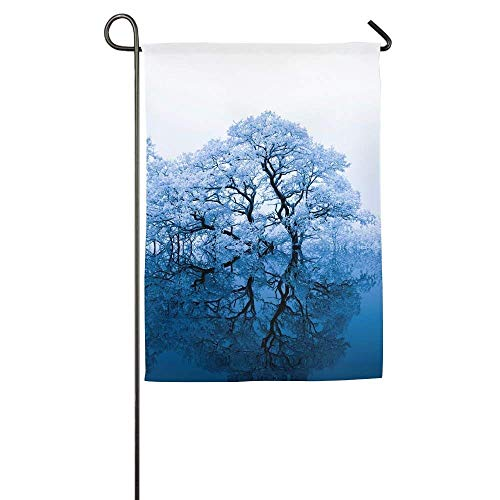 beautiful& Snow-White Forest in Winter Garden Flag Indoor & Outdoor Decorative Flags for Parade Sports Game Family Party Wall Banner 12.5x18 inches Special Blend Snow