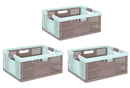 3 x Klappbox 32 L aquamarin / braun Faltbox Kunststoff Box Kiste Transportkiste Einkaufskorb (Kunststoff-klappbox)