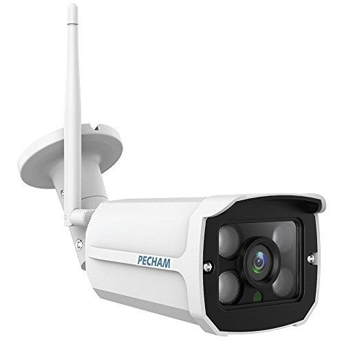 PECHAM IP Cámara para exterior wifi 720P HD para día / noche con visión nocturna CCTV Cámara de seguridad impermeable con Wlan y WIFI