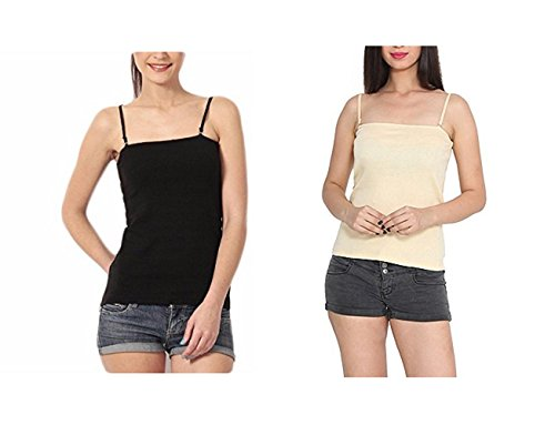 Women's Padded Camisole Built-in Bra With Removable And Adjustable Spaghetti Strap (Pack of 2)